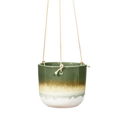 Mojave Glaze Green Hanging Planter by Sass & Belle