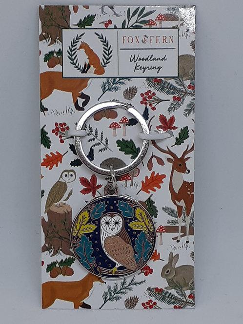 Fox & Fern Owl Woodland Keyring