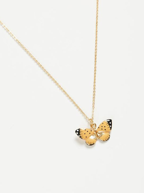 Enamel Butterfly Short Necklace by Fable