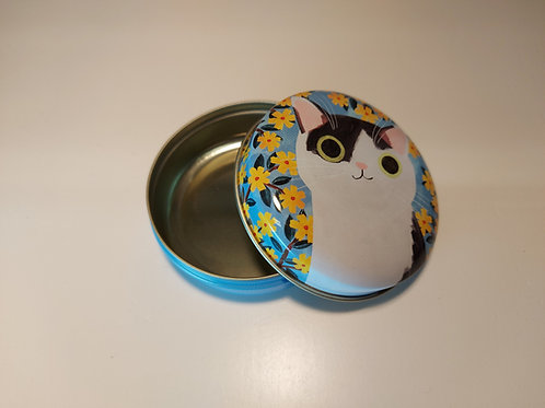 'Planet Cat' Black & White Cat Small Round Tin