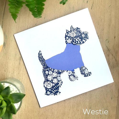 Floral Silhouette Westie Card