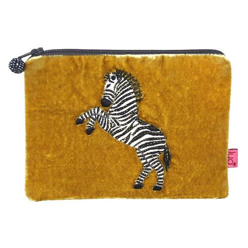 Velvet Dancing Zebra Purse - Mustard