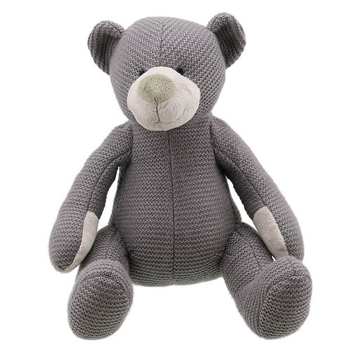 Large Grey Knitted Bear by Wilberry Toys