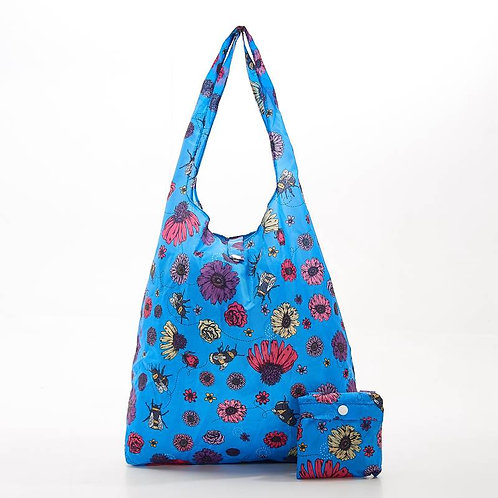 Bees & Flowers (Blue) Recycled Shopper by EcoChic