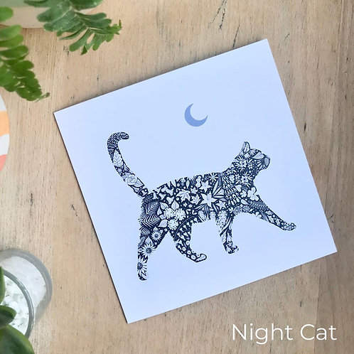 Floral Silhouette Cat Card