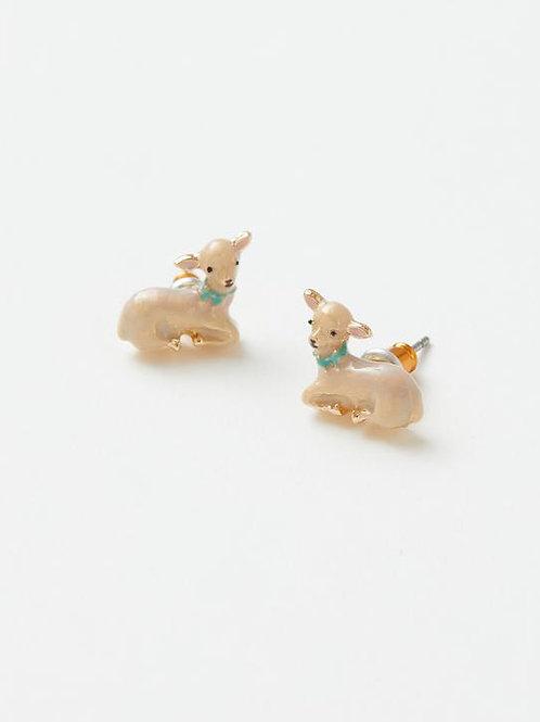 Enamel Lamb Stud Earrings by Fable