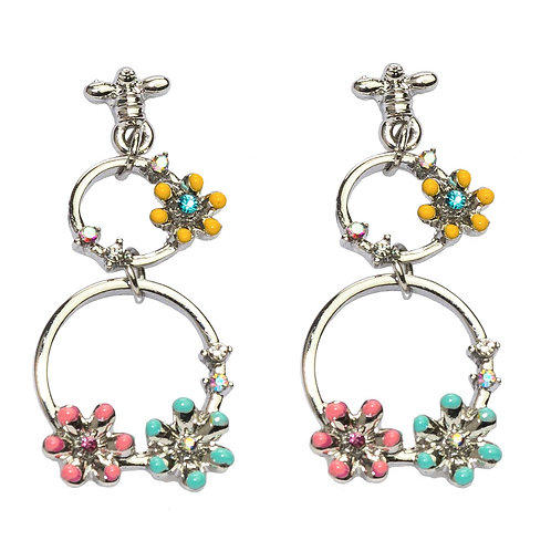 Rhodium Plated Flowers Double Circles Earrings