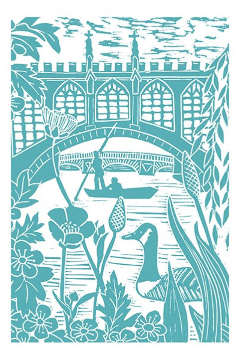 Silhouette 'Punting at Cambridge' Card