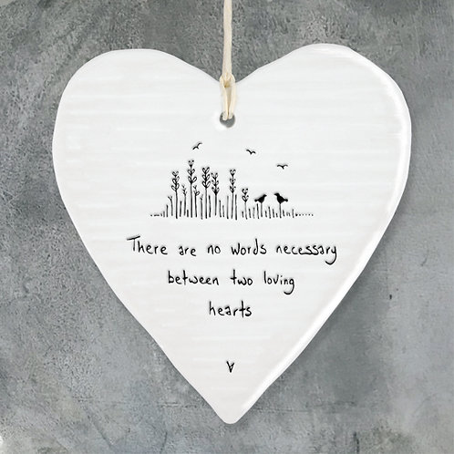 'No Words Necessary' Porcelain Hanging Heart