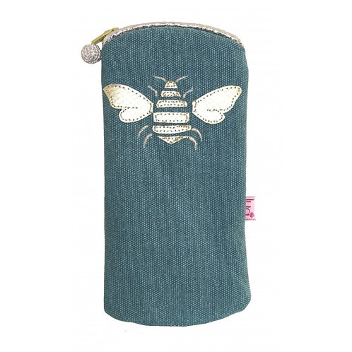 Gold Bee Glasses Purse - Teal