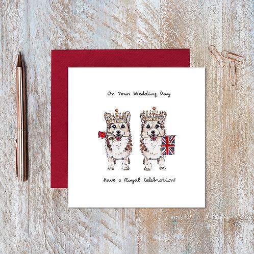 Toasted Crumpet 'Crown Corgis' Wedding Card