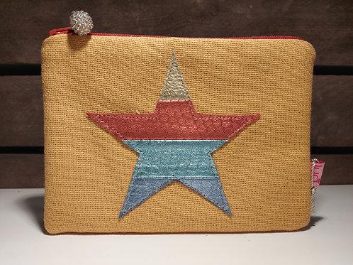 Fabric Star Large Purse - Mustard