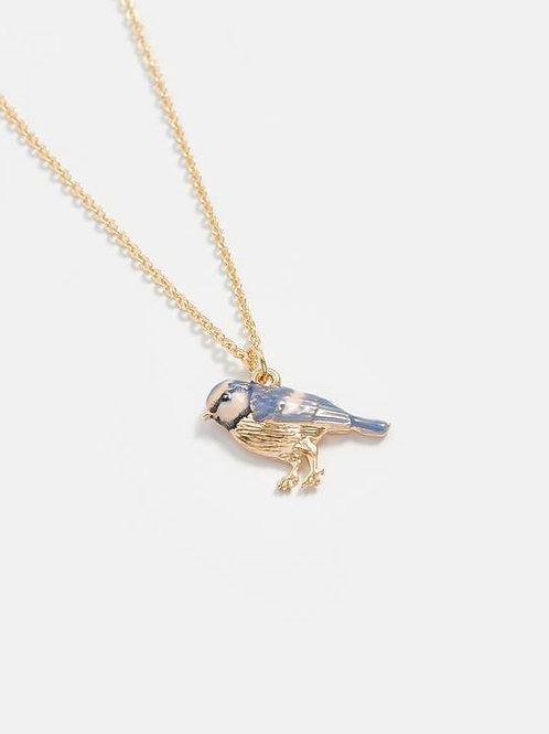 Enamel Blue Tit Short Necklace by Fable