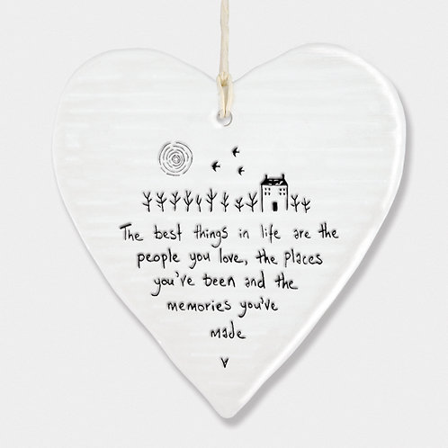 'Best Thing In Life' Porcelain Hanging Heart