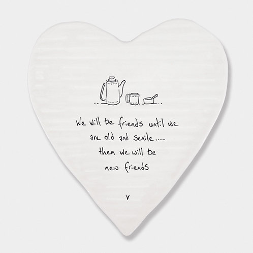 'Old & Senile' Porcelain Heart Coaster
