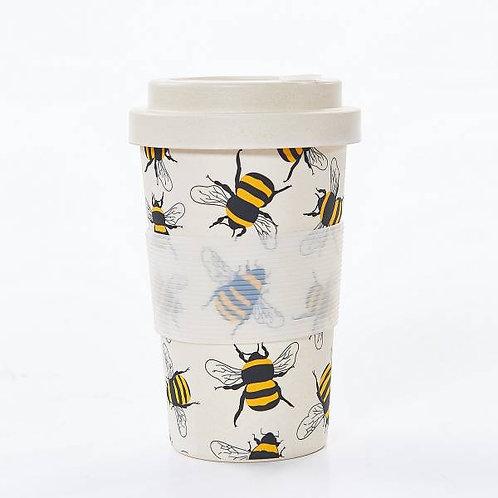 Cream Bees Bamboo Travel Mug by EcoChic