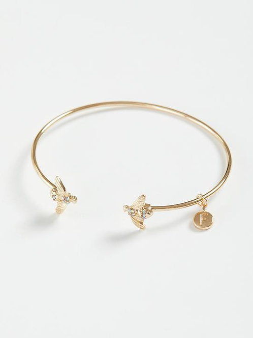 Gold Pave Bee Bangle by Fable