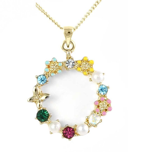 Gold Plated Butterfly & Flowers Circle Pendant