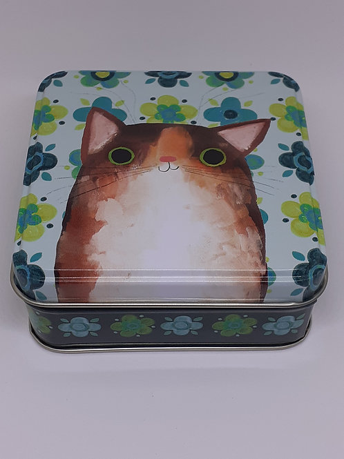 'Planet Cat' Green Flowers Square Tin