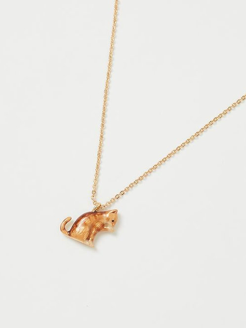 Enamel Cat Short Necklace by Fable