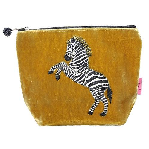 Velvet Dancing Zebra Small Cosmetic Purse - Mustard