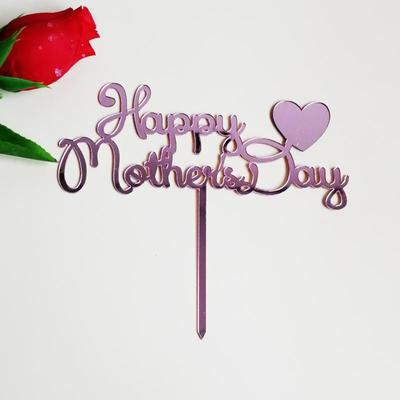 'Happy Mother's Day' Cake Topper, Pink with Heart