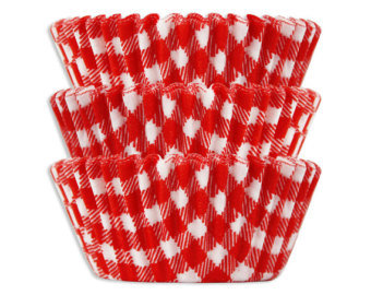 Red Gingham Cupcake Liners, 50/pack