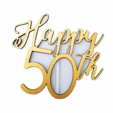 'Happy 50th' Birthday Cake Topper