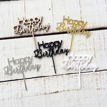'Happy Birthday' Acrylic Cake Topper