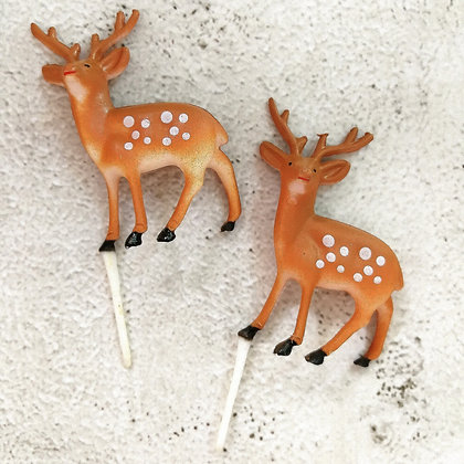 Reindeer Christmas Cake Toppers 5 pcs