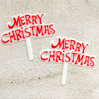 'Merry Christmas' Cake Toppers 5 pcs