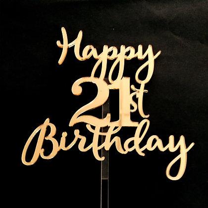'Happy 21st Birthday' Cake Topper