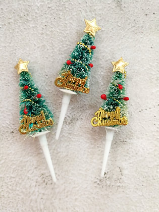Glittered Tree Christmas Cake Toppers 5 pcs