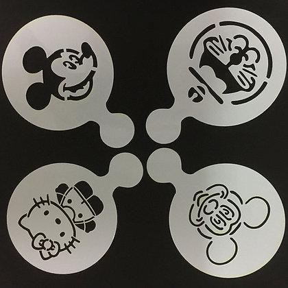 Cartoon Character Coffee/ Cupcake Stencil Set 2