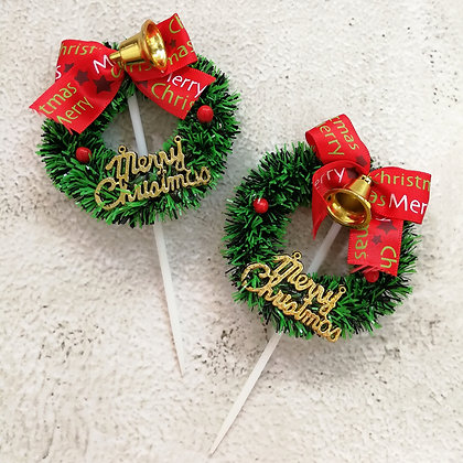Wreath Christmas Cake Toppers 5 pcs
