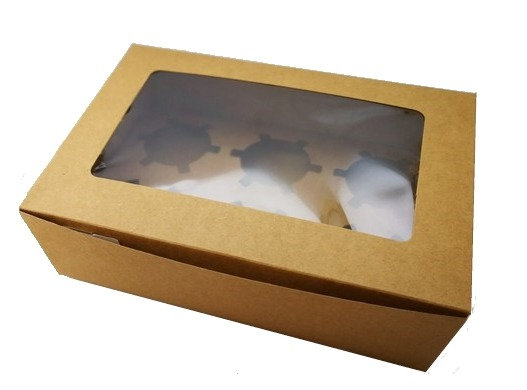 Cupcake Box 6 cavity with window, Brown Kraft Paper