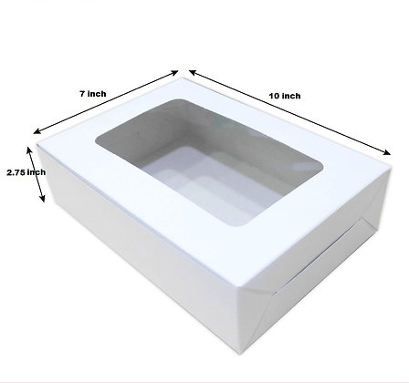 Cake Box, Rectangular with Window 7 x 10 x 2.75(H) inch