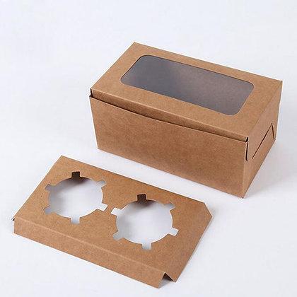 Cupcake Box 2 cavity with window, Brown Kraft Paper