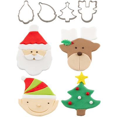 Cutie Cupcake Cutters, Christmas Set/4