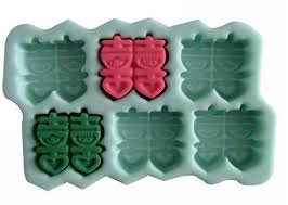 6 cavity Double Happiness Silicone Mold