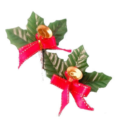 Holly Leaves with Bells Picks 5 pcs