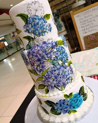 Decoupage & Painting on Cake - Hydrangeas
