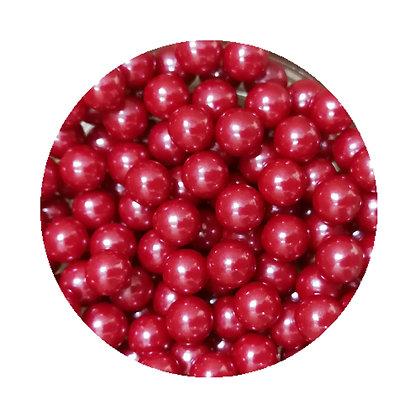 7mm Pearlised Dark Red Sugar Beads 80g