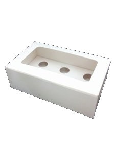 Cupcake Box 6 cavity with window, with flexible insert