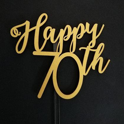 'Happy 70th' Birthday Cake Topper