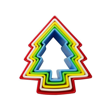 Christmas Tree Nesting Plastic Cookie Cutter Set of 5