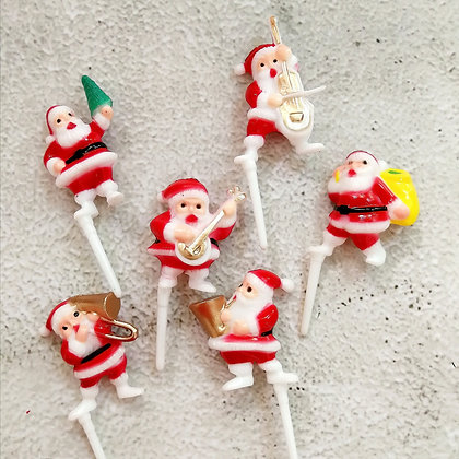 Santa Christmas Cake Toppers 5 pcs