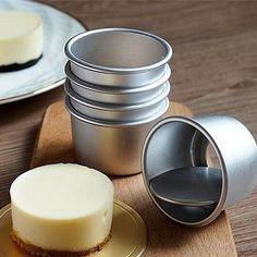2.5 inch Aluminium Loose Base Mini Cake Pans, Set/5