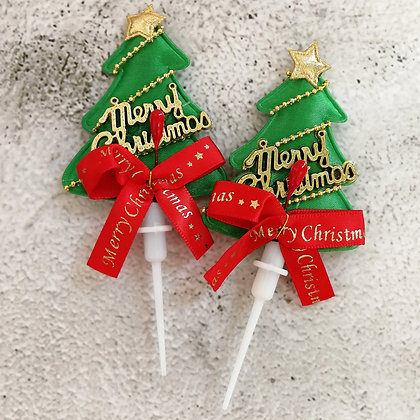 Puffy Tree Christmas Cake Toppers 5 pcs