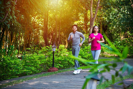 Indian asian young Couple jogging, runni